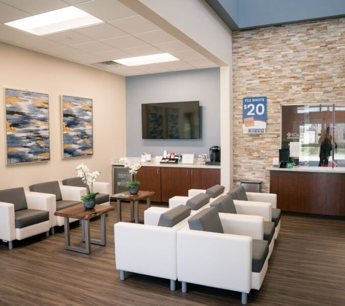 Lobby at iCare Emergency Room & Urgent Care in Fort Worth, TX.